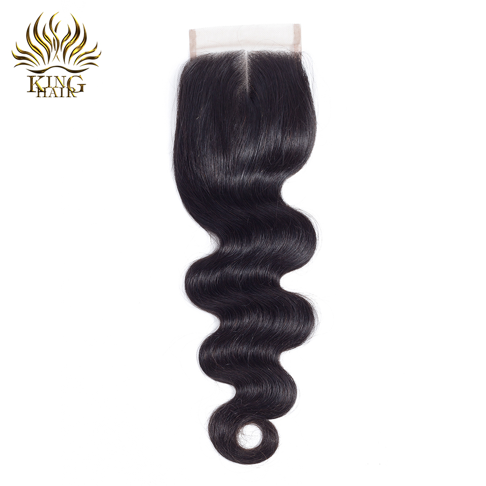 King hair Peruvian Body Wave Lace Closures Remy Hair Middle Part 4 4 Bleached Knots 100