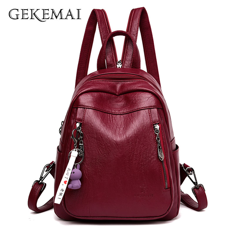 Double Zipper Ladies Luxury Leather Backpack Fashion Women Travel Backpack Sac A Dos School Backpacks For Girls Mochilas+Pendant