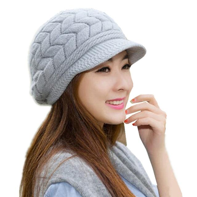 Women Beanie Hats Cotton Knit Caps Skullies Beanies Winter Knitted Warm  Bonnet Hat Fashion Girls Crochet 3c471073659a
