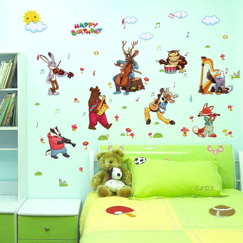 Us 2 88 Hy Birthday Animal Music Wall Art Stickers Kids Nursery Vinyl Decal Decor Diy In From Home Garden On Aliexpress