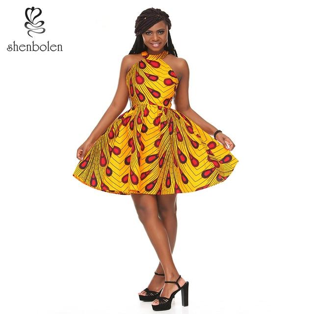 040e1f1ab273 Shenbolen Women African Ankara Batik Print Traditional Clothing Casual  Party Dress