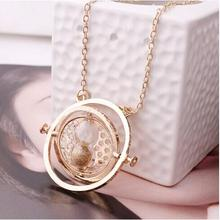 Hot Sale Harry Potter Time Turner Necklace Hermione Granger Rotating Spins Gold Hourglass(China (Mainland))