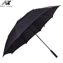 NX Large true double layer umbrella 135cm male business Windproof golf umbrella Advertising long umbrella wholesale glass fiber