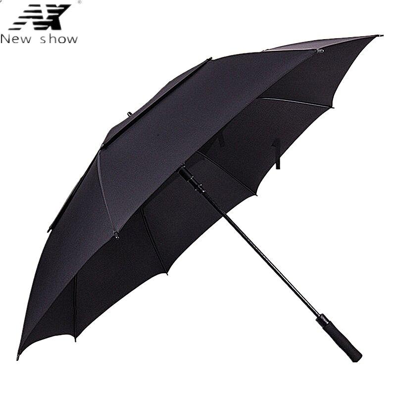 NX 큰 진실한 두 배 층 우산 135cm 남성 사업 방풍 골프 우산 광고 긴 우산 도매 유리 섬유