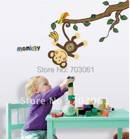 Monkey Wall Stickers sticker plane plastic Fridge can move pvc kids play games Children's room funny toy - Curitis Automation Industry Co.,Ltd store