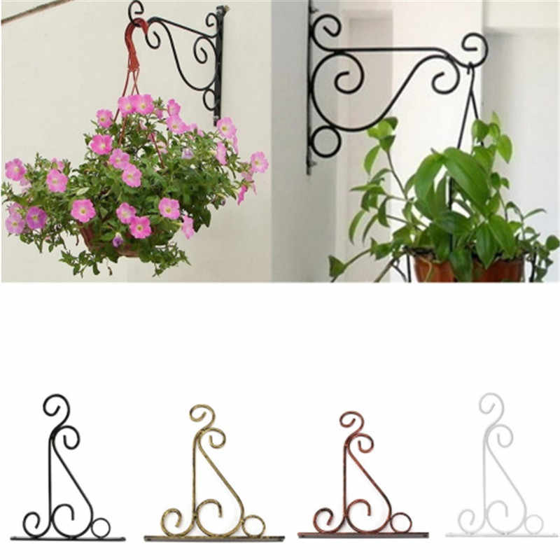 Plant Stand Flower Pot Hooks Holder Wrought Iron Pendant Plant Stand Flower Pot Hook Frame Garden Decoration