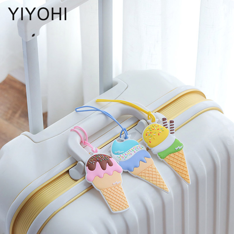 Travel Accessories Luggage Tag Cover Creative ice cream Silica Gel Suitcase ID Address Holder Baggage Boarding Tags Label ice cream silica gel mold