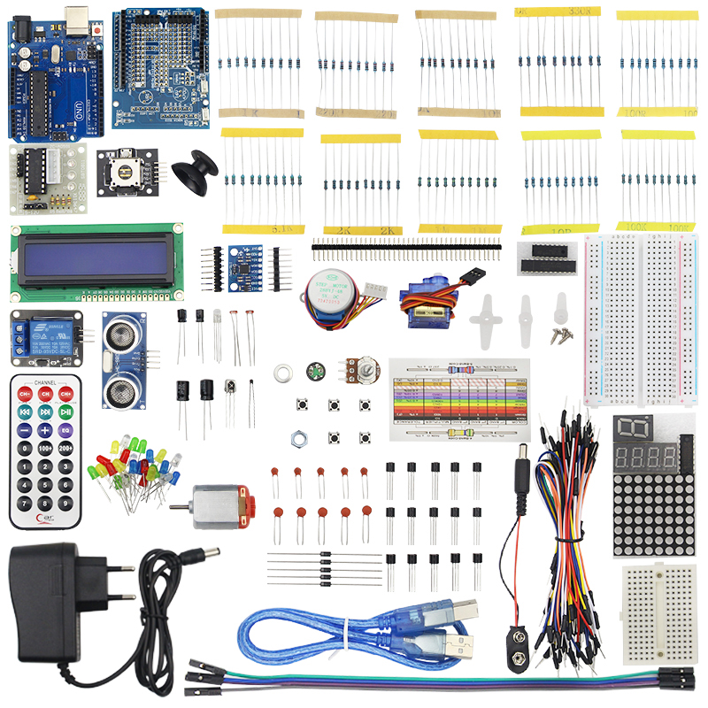 2017 Ultimate Starter Kit for Arduino for UNO R3 1602 LCD Servo Motor LED DIY Electronic Unit kit High Quality favourite 1602 1f