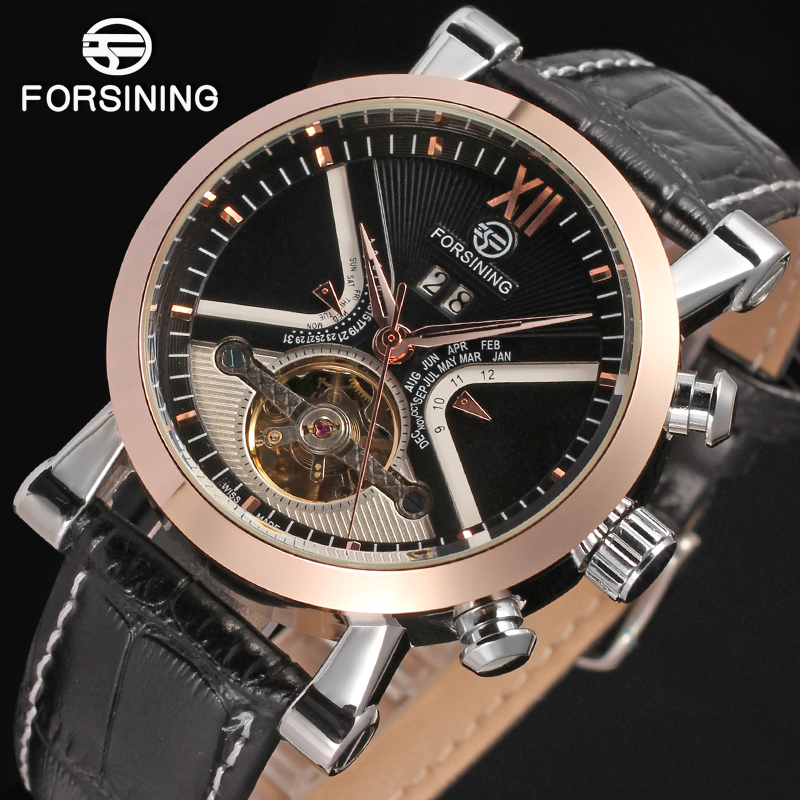 Forsining Men s Watch Luxury Brand Automatic Tourbillon Watches Men s Luxury Brand Watch Calendar Golden