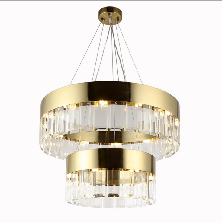 Nordic postmodern crystal glass model room chandeliers villa living room hotel lobby round lamps r54 hotel room