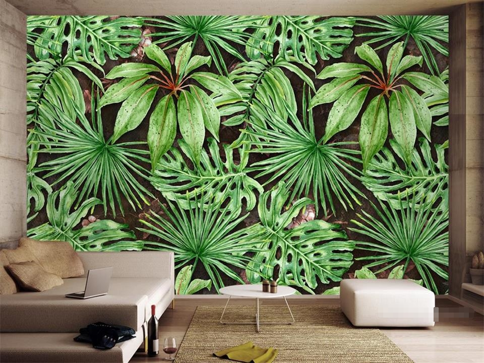 custom 3d photo wallpaper living room mural tropical plant green leaves 3d painting TV backdrop non-woven wall sticker wallpaper 3d wallpaper custom mural non woven wall sticker black and white wood road snow tv setting wall painting photo wallpaper for 3d