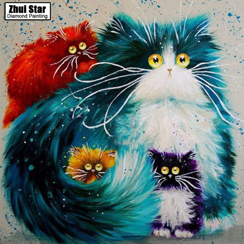 Hot Trendy Cat Square Diamond Mosaic Craft Needlework Diamond Painting DIY Diamond Embroidery Cartoon Home Decor