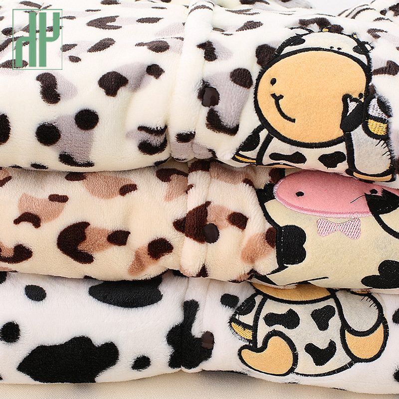 3 6 9 12 months baby clothes cute winter warm longsleeve coral fleece infant Leopard cow animals clothes baby boy girl rompers in Rompers from Mother Kids