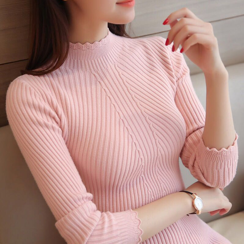 Suéter tejido cuello alto Mujer invierno otoño 2018 manga larga Mujer Delgado señoras Tops mujeres Pullovers Pull Femme Hiver