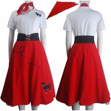 Hip hop fashion poodle skirt halloween costume daily wear women kids girls red