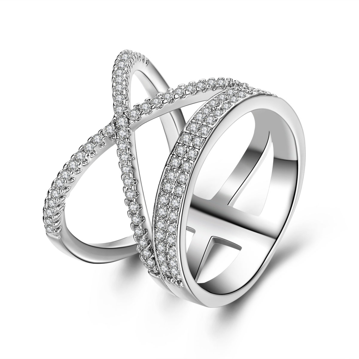 silver wedding ring silver plated cross ring for women gift new luxury 7460