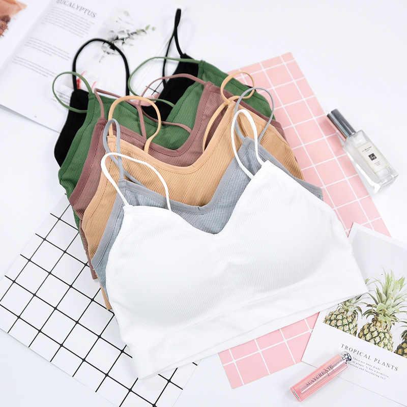 Sport Cropped Top Bra Push Up Running Yoga Bra Cotton Stripe Sport Tops For Women Gym Wear Solid Fitness Bra Women Sportswear