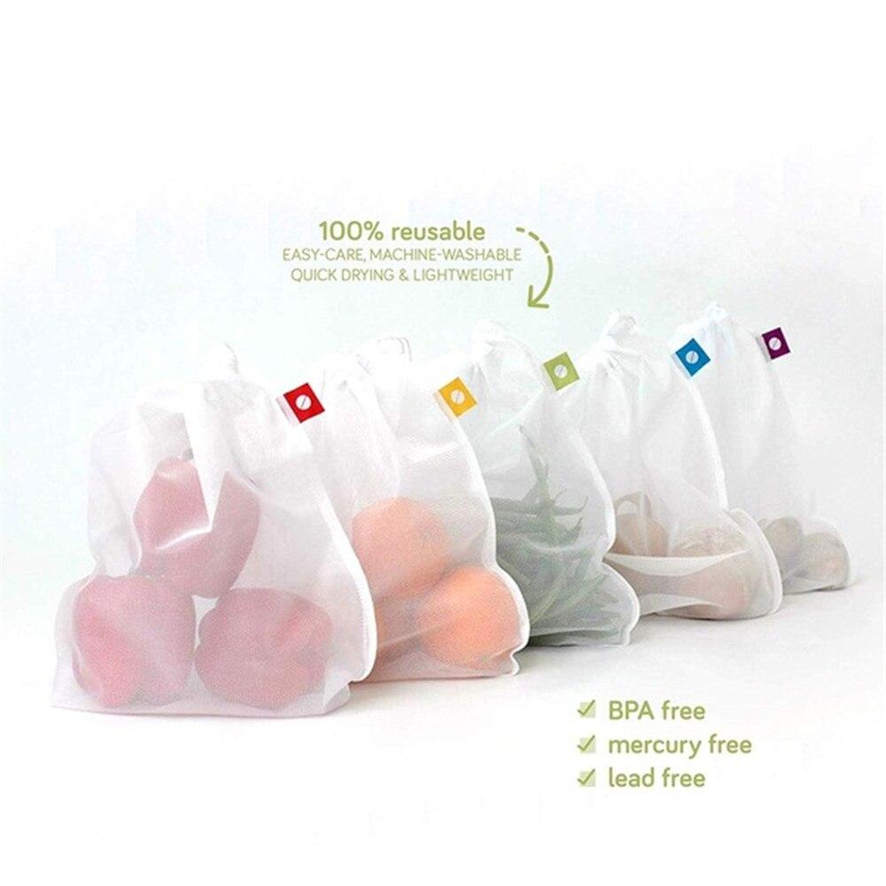 1/5 PCs Reusable Mesh Bag Vegetable And Fruit Net Storage Bag Polyester Mesh Splicing Mesh Bag Kitchen Storage Product Organizer
