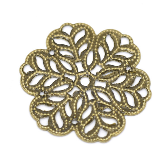 Free shipping-100Pcs Antique Bronze Filigree Flower Wraps Connectors Metal Crafts Decoration DIY Findings 29x29mm J0634