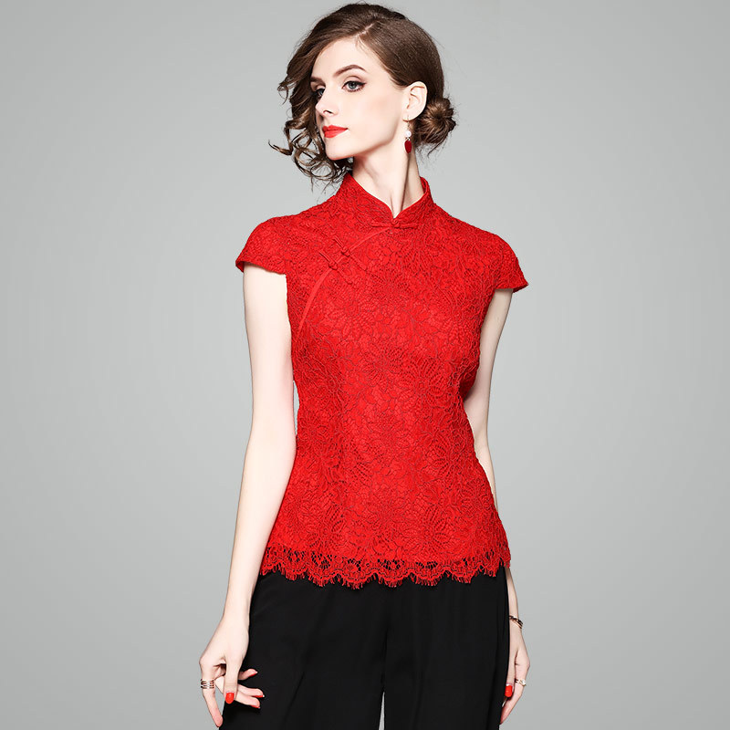 ac156c386ca6e OYCP Luxury Women s Clothing Chinese Style Mandarin Collar Red High End  Lace Tops Shirts Blouses Women 80135-in Blouses   Shirts from Women s  Clothing on ...