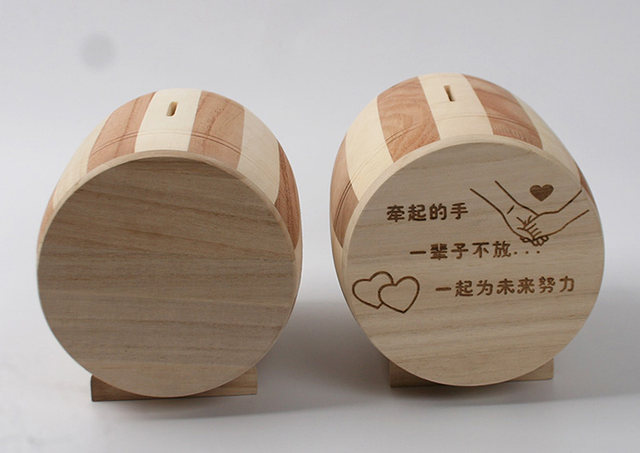 Customize Name Blessings Wooden Piggy Bank Creative Barrel Articles Couple Children Birthday Gift Money Box