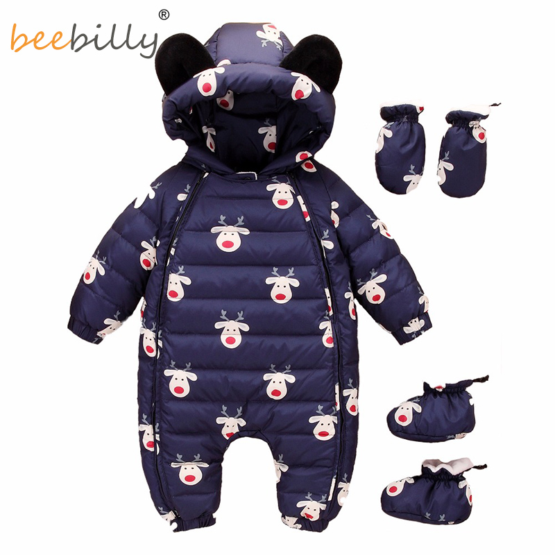 Christmas Deer Baby Rompers Duck Down Winter Overalls Thick Warm Jumpsuit 2017 Newborn Clothes Infant Boys Girls Outwear autumn winter baby clothes cartoon cotton thick warm infant jumpsuit clothing baby boys girls rompers overalls good quality