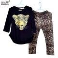 Meninas Roupas Conjuntos de Roupas Meninas Do Bebê Da Criança Meninas Roupa Dos Miúdos Roupa Das Crianças Luva Cheia T Camisa do Leopardo Legging Vestidos