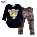 Niñas Ropa de Niño Que Arropan Los Bebés Embroma la Ropa Ropa de Los Niños de La Manga Completa Camiseta de Leopardo Legging Vestidos
