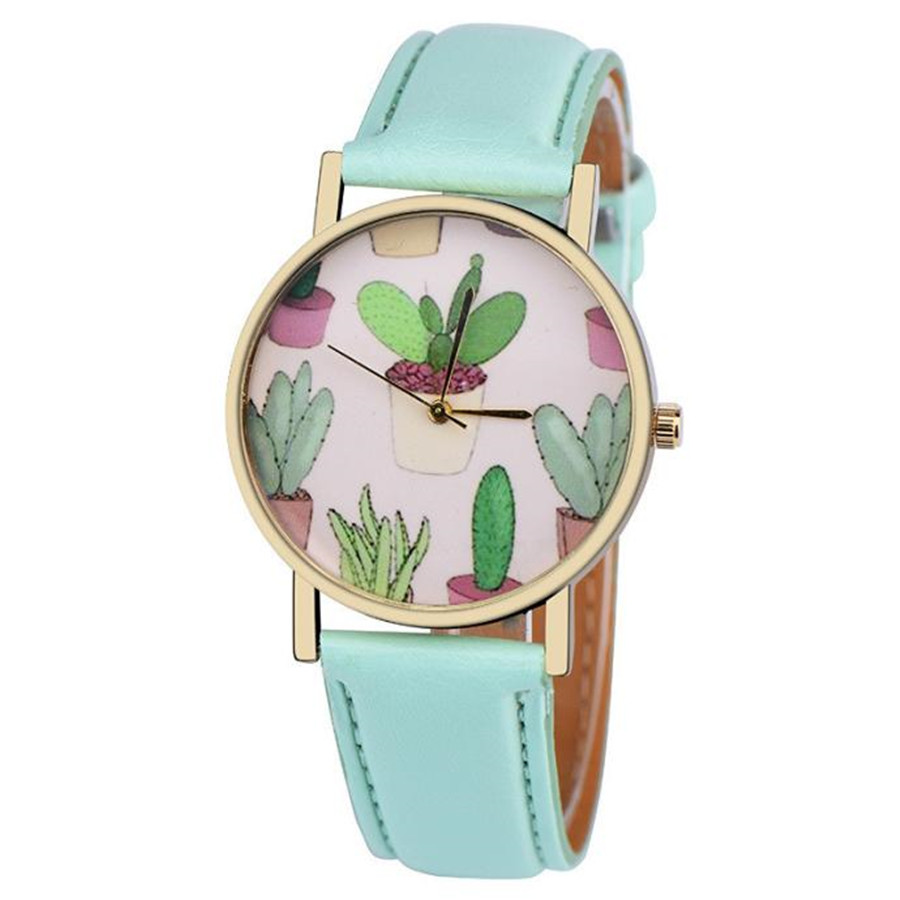 Women Watches Cactus potted plant PU Leather Band Analog Quartz Vogue Wrist Watch Fashion Casual Unique creative Gift Watches