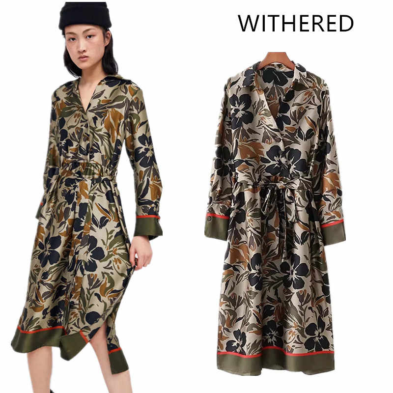 30b253ef4c5b WITHERED 2018 feminino england style fit and flare print wrist sashes  knee-length regular natural