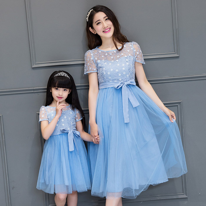 ФОТО Matching Mother Daughter Dresses lace Mother Daughter Clothes Family Matching Look Mom And Daughter Summer party long Dress
