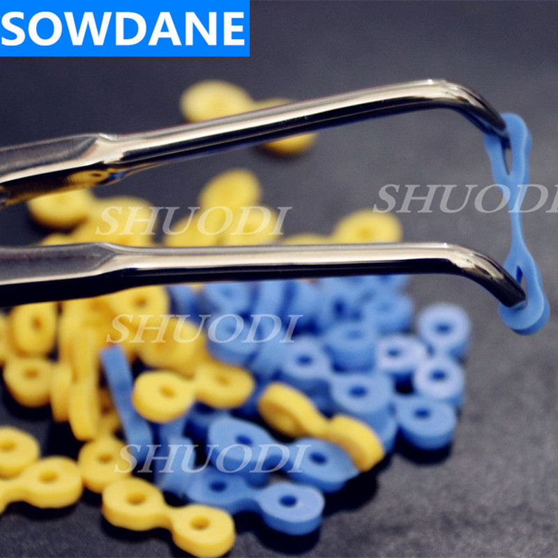 Автоклавный стоматологический эластичный резиновый фиксирующий клиновидный матричный материал, 160 шт. (80 шт. каждого из синих и желтых)