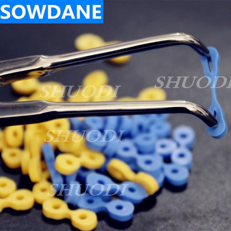 160 pièces Autoclavable Dentaire Élastique De Fixation En Caoutchouc Cales Matrice Matrices Barrage Composite (80 pièces de Bleu et Jaune)