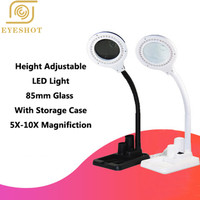 Multi function Magnifying Crafts Glass Desk LED Lamp 5X & 10X Magnifier 40 LED Light With Pen holder Durable