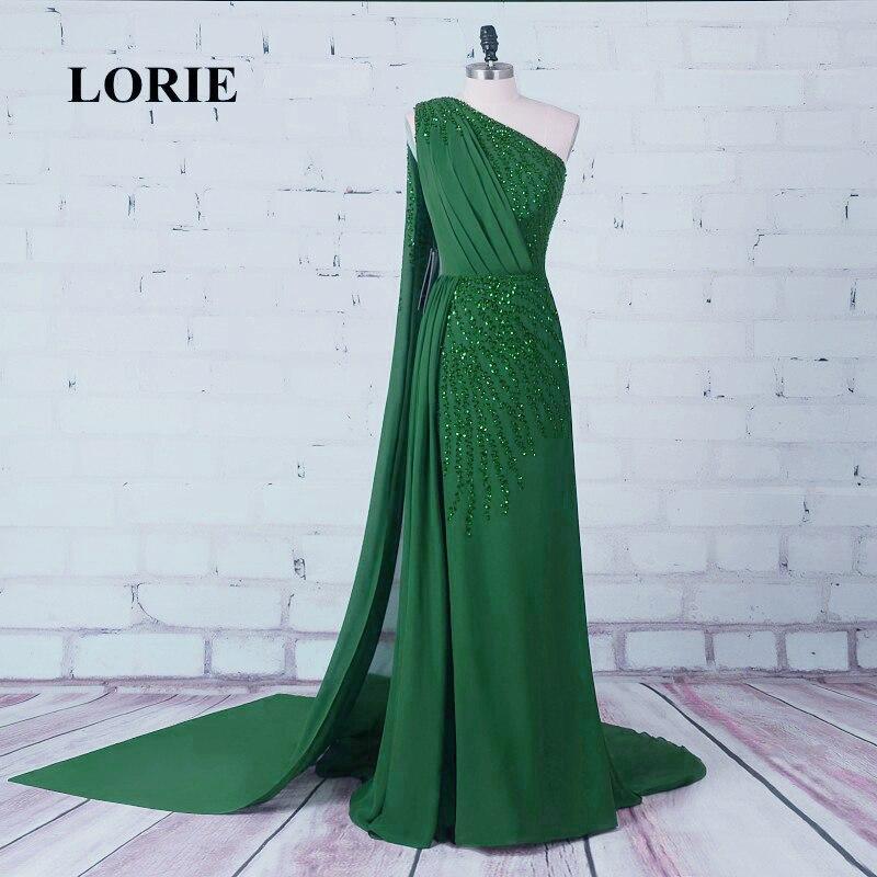 LORIE 이브닝 그린 드레스 돌로 장식 한 원피스 시폰 롱 포멀 댄스 파티 드레스 파티 드레스 드 라 라 드 라 마리에