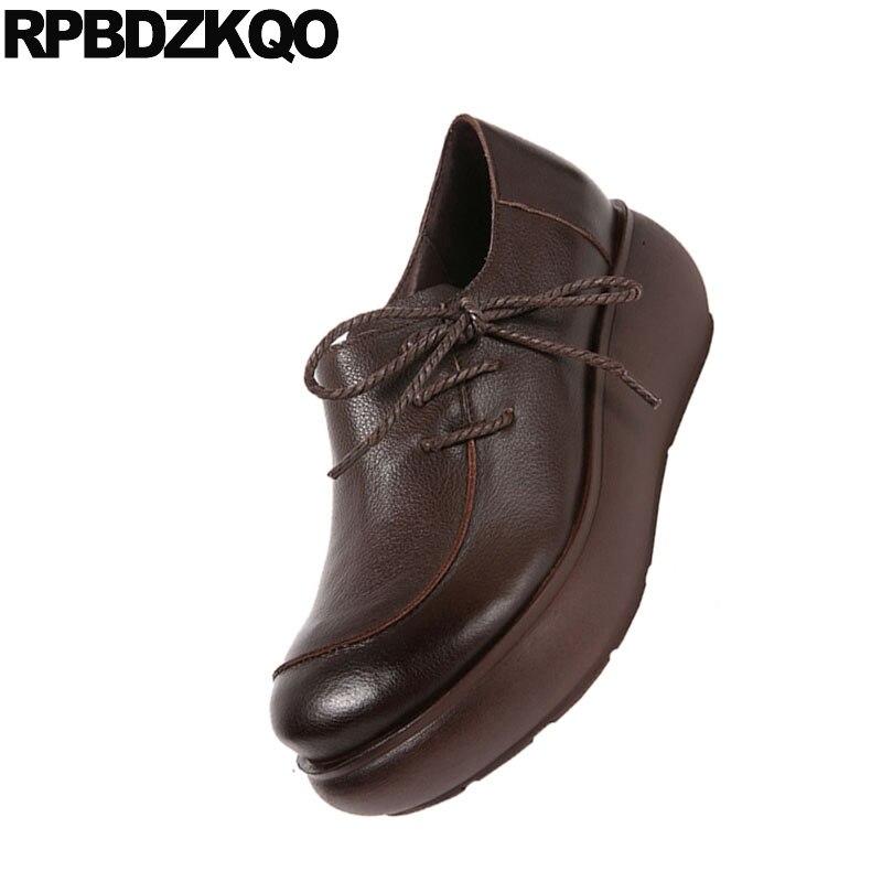 De Genuino Marrón Chinos Lace Mujeres Suela Ascensor Retro Cuero Up Muffin Plataforma marrón Vaca Enredaderas Flats Negro Gruesa Zapatos Tradicionales aBwAfEq