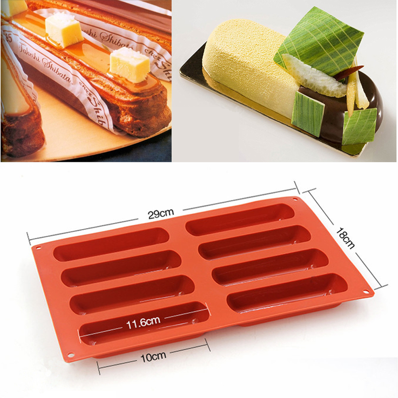 Silicone Non Stick 116mm Eclairs 6 Forms Oblong Pastry