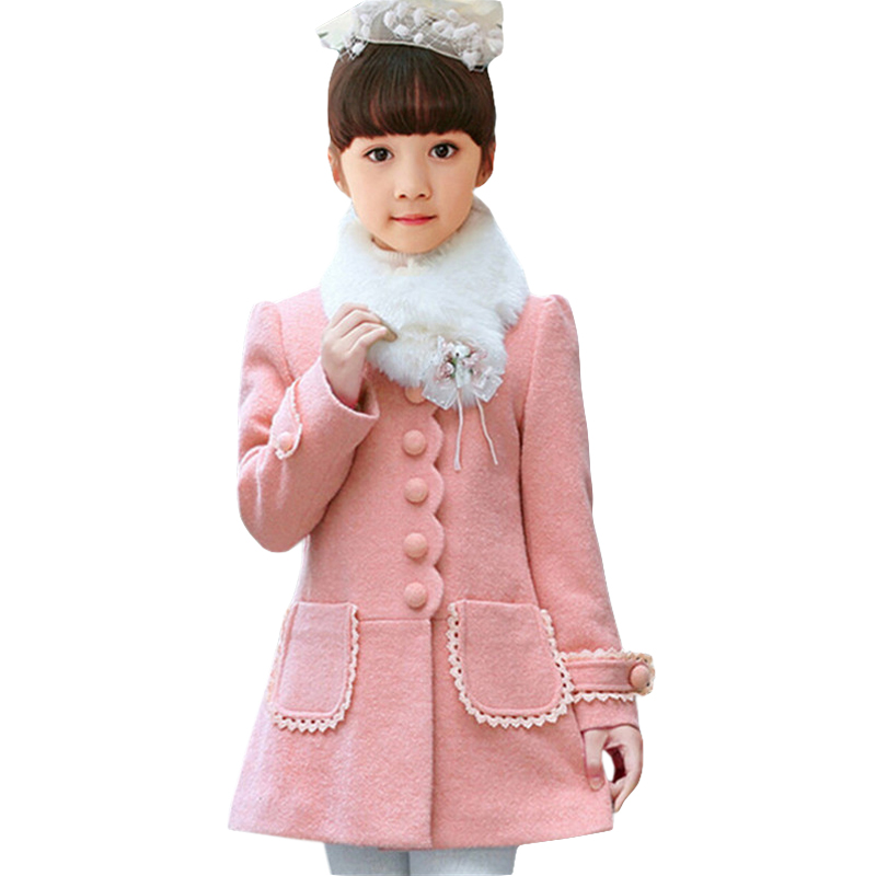 Baby Girls Jacket 2018 Autumn Winter Jackets For Girls Wool Coat Kids Warm Outerwear Coats For Girls Clothes Children Jacket baby girls jackets 2018 winter jacket for girls winter coat kids clothes children warm hooded outerwear coats winterjas meisjes