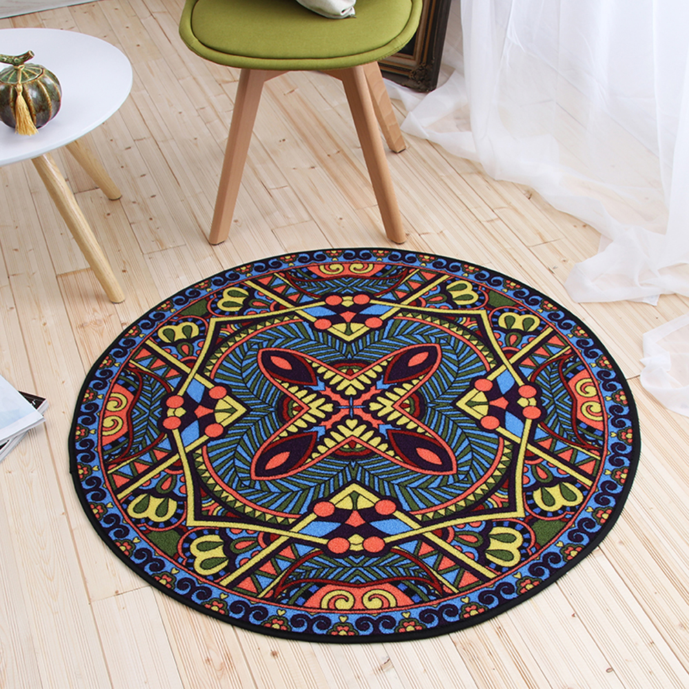 Moderne Style National motif géométrique tapis rond antidérapant respirant salon chambre tapis Home Decorator tapis de sol