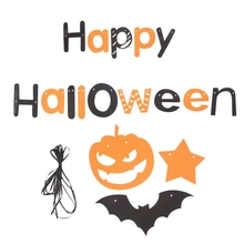 Happy Halloween Pumpkin Banner Hanging Garland Pennant Flag Party Decoration Set