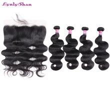 Lynlyshan Human Hair Bundles With Frontal Closure 4 Bundles Body Wave with Lace Frontal 13*4 Indian Remy Hair Weave Bundles(China)