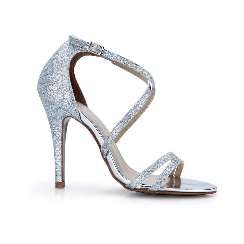 Verano Elegantes Caliente De Altos Brillo Tacón Bombas Correa Gladiador Sandalias Silver Tacones Señoras Plata Zapatos Boda Alto Cruzada Partido Mujer Moda ZwTxqrZv