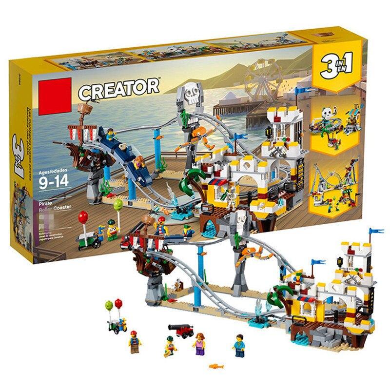 Совместимость legoings городской парк пират Горки 3 в 1 модель здания Конструкторы 31084 Творческий игрушечные лошадки для детей Рождество
