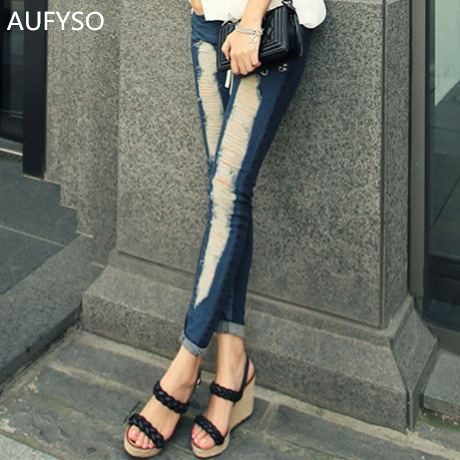 цена на AUFYSO Jeans Woman 2017 Autumn Korean Streetwear Vintage Ripped Slim Pencil Pants Skinny Blue Denim Bottom jeans feminina B15