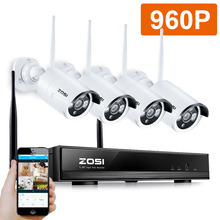 ZOSI 4CH 960P HD Wireless Video Security Camera System 4pcs 1.3MP Outdoor WiFi IP Security Bullet Camera Surveillance NVR Kit