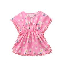 Fashion Kids Baby Girls Dress 2018 Floral Pom Pom Beach Dress Sundress Cute Baby Girls Clothes Summer Dress