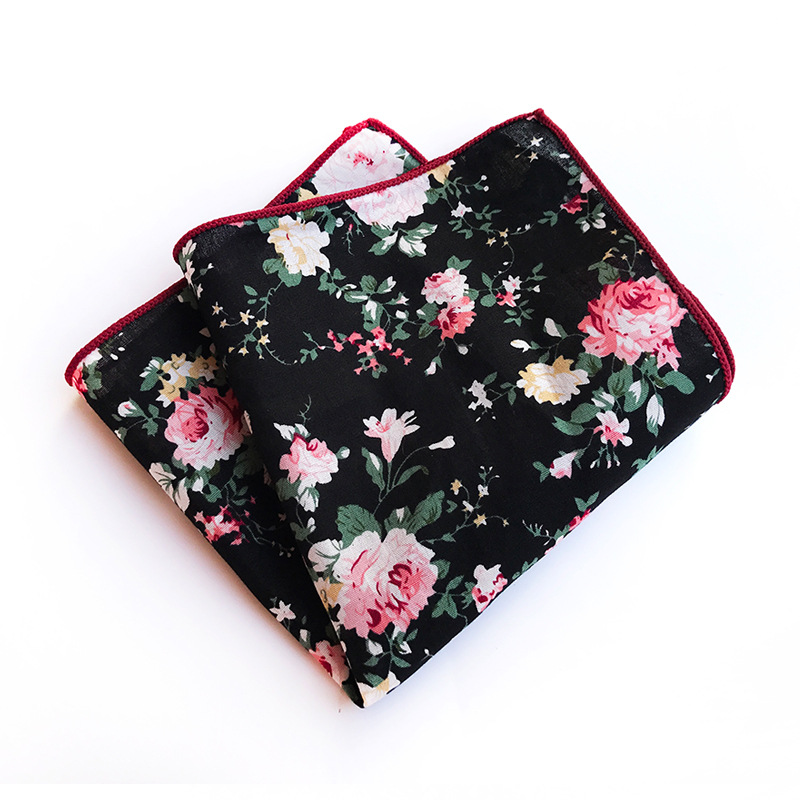 Explosion Models Large Flower Printed Cotton Pocket Towel Business Suit Casual Fashion Wild Decorative High Quality Square Scarf