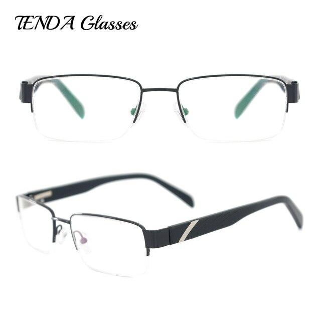 2a00fa7636b Metal   Acetate Half Rim Rectangle Eyewear Frame Men Spectacles For  Prescription Glasses Lenses