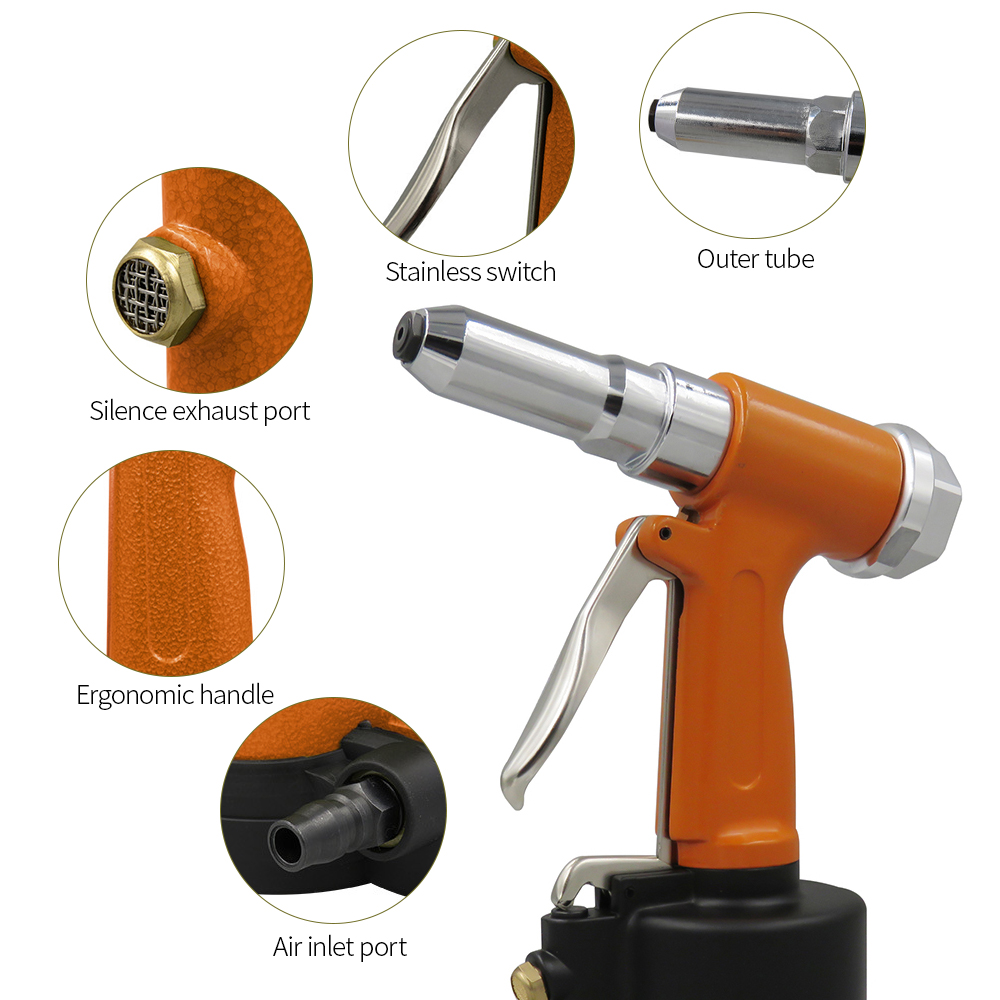 Meterk Pneumatic Hydraulic Air Riveter Labor Saving Rivet Riveting Gun Nut Nail Insert Hand Tool With Wrench  Rivet Instrument
