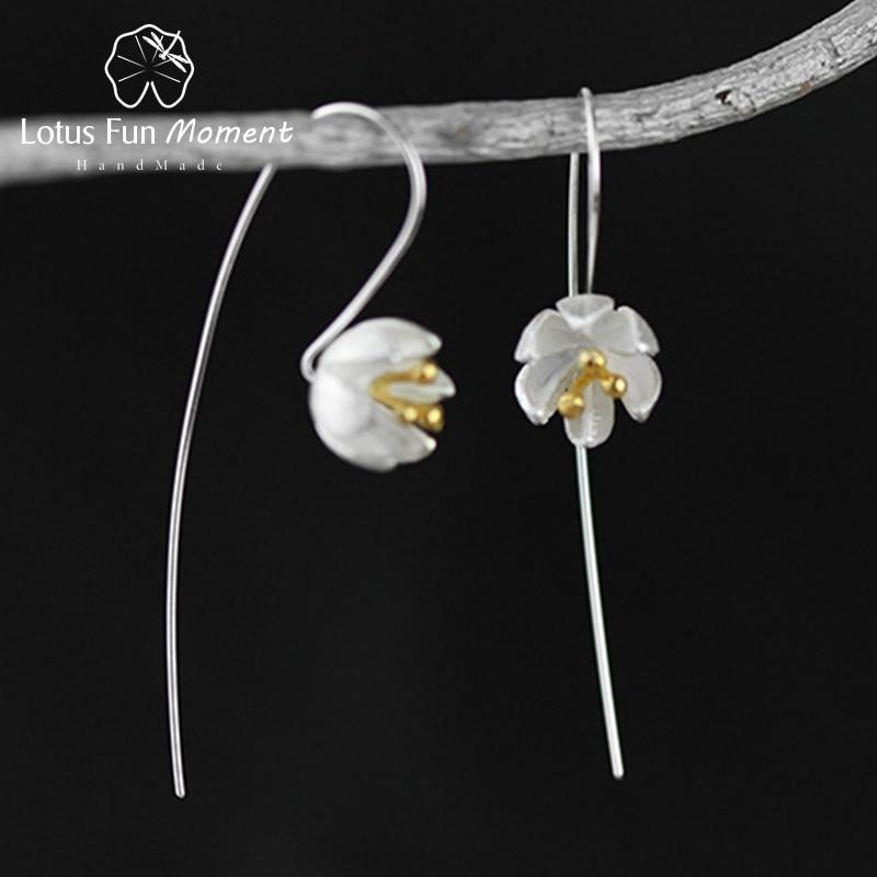 все цены на Lotus Fun Moment Real 925 Sterling Silver Natural Original Handmade Fashion Jewelry Vintage Flower Dangle Earrings for Women онлайн